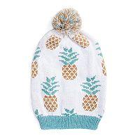 Women's MUK LUKS Pineapple Slouchy Pom-Pom Beanie