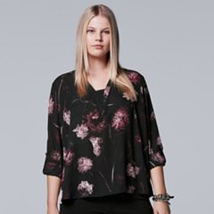 Plus Size Simply Vera Vera Wang Solid Crepe Top