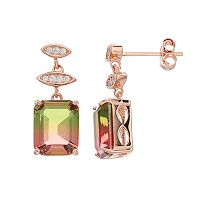 18k Gold Over Silver Lab-Created Watermelon Tourmaline Drop Earrings