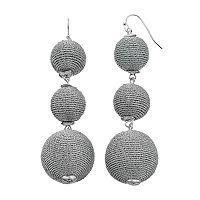 Metallic Thread Wrapped Triple Drop Earrings