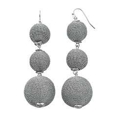 Metallic Thread Wrapped Triple Drop Earrings