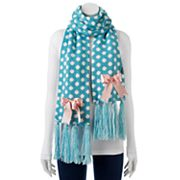 MUK LUKS Bow Accent Polka Dot Oblong Scarf
