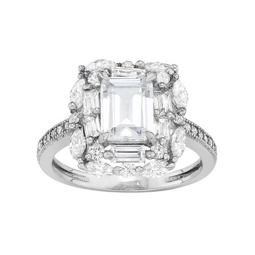 Sterling Silver Cubic Zirconia Rectangle Halo Ring