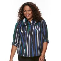 Plus Size Dana Buchman Nailhead Button-Down Camp Shirt