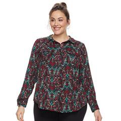 Plus Size Dana Buchman Nailhead Button-Down Camp Shirt