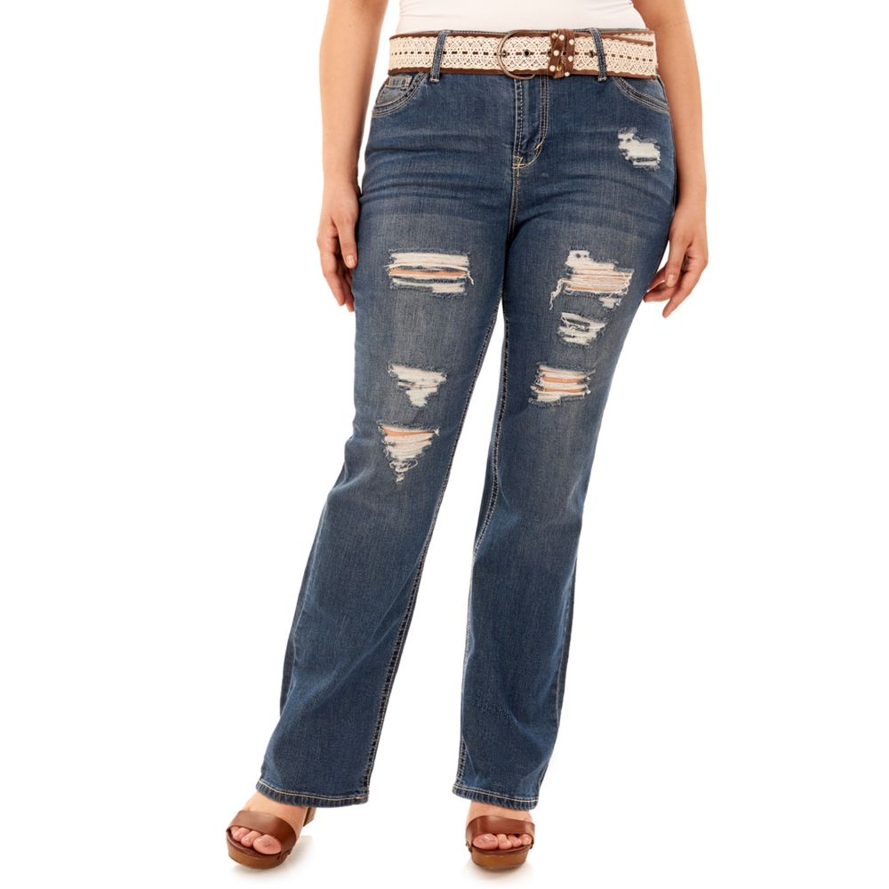 Plus Size Wallflower Legendary Ripped Bootcut Jeans