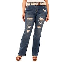 Juniors' Plus Size Wallflower Legendary Ripped Bootcut Jeans