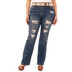 Juniors' Plus Size Wallflower Legendary Ripped Bootcut Jeans