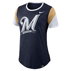 Women's Nike Milwaukee Brewers Triblend Colorblock Tee