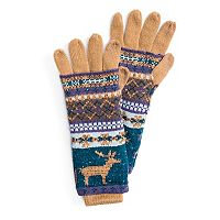 Women's MUK LUKS 3-in-1 Reindeer Fairisle Tech Gloves