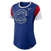 Women's Nike Chicago Cubs Triblend Colorblock Tee