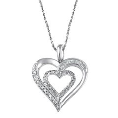 Sterling Silver 1/5 Carat T.W. Double Heart Pendant Necklace