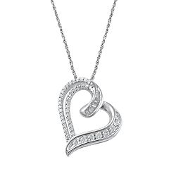 Sterling Silver 1/3 Carat T.W. Heart Pendant Necklace