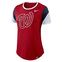 Women's Nike Washington Nationals Triblend Colorblock Tee