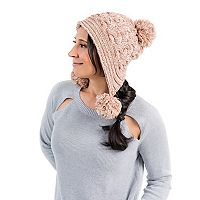 Women's MUK LUKS Cable-Knit Triple Pom-Pom Hat