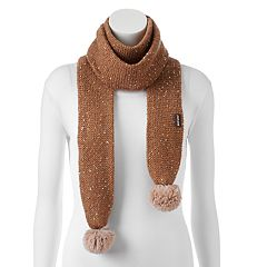 MUK LUKS Pom Pom Sequined Long Skinny Scarf