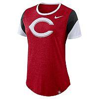 Women's Nike Cincinnati Reds Triblend Colorblock Tee