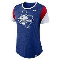Women's Nike Texas Rangers Triblend Colorblock Tee