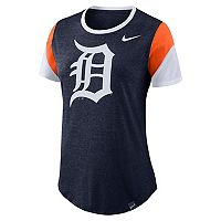 Women's Nike Detroit Tigers Triblend Colorblock Tee