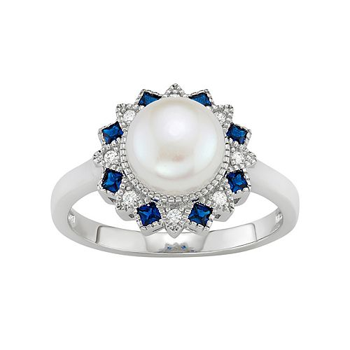 Sterling Silver Freshwater Cultured Pearl & Lab-Created Blue Spinel Flower Ring