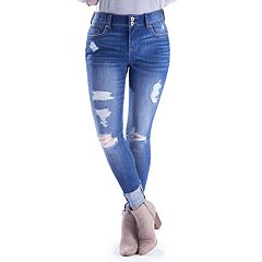 Juniors' Amethyst Rolled Skinny Jeans