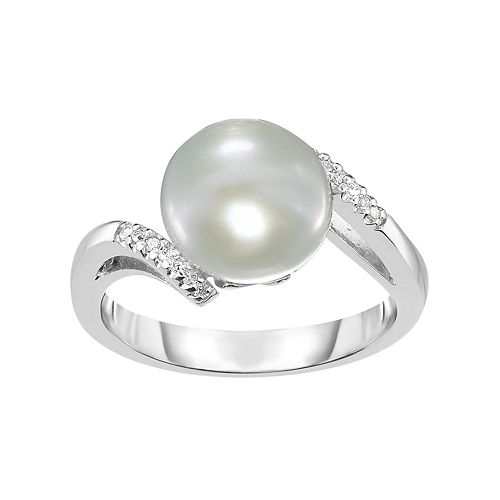 Sterling Silver Freshwater Cultured Pearl & Lab-Created White Sapphire Bypass Ring