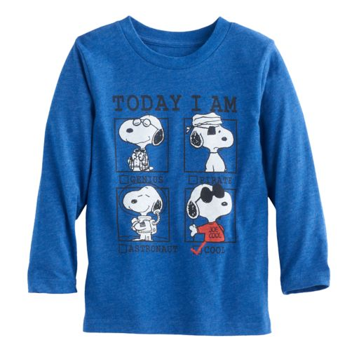 """Toddler Boy Jumping Beans® Snoopy """"Today I Am"""" Graphic Long-Sleeve Tee"""