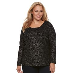 Plus Size Jennifer Lopez Bar Back Boucle Top