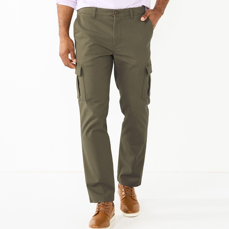 Mens Olive Green Cargo Pants UQBF662V