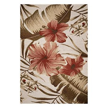 KAS Rugs Horizon Hibiscus Floral Indoor Outdoor Rug