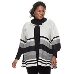 Plus Size Dana Buchman Stripe Sweater Cardigan