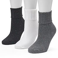 Women's SONOMA Goods for Life™ 3-pk. Turn Cuff Crew Socks