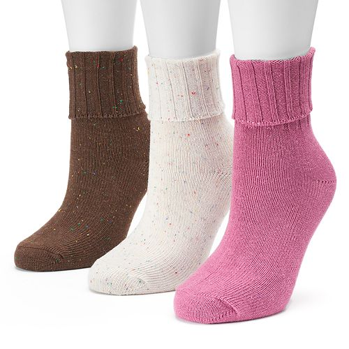 Women' SONOMA Goods for Life™ 3-pk. Warm Turn Cuff Crew Socks