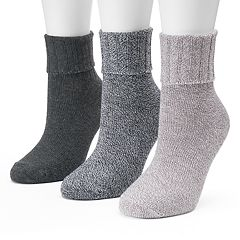 Women's SONOMA Goods for Life™ 3 pkGray Marled Turn Cuff Crew Socks