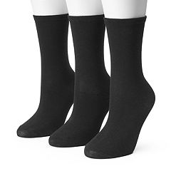 Women's SONOMA Goods for Life™ 3-pk. Black Flat Knit Crew Socks