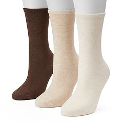 Women's SONOMA Goods for Life™ 3-pk. Neutral Flat Knit Crew Socks