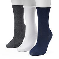 Women's SONOMA Goods for Life™ 3-pk. Dark Flat Knit Crew Socks