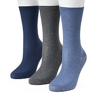 Women's SONOMA Goods for Life™ Blue Ribbed Knit Crew Socks