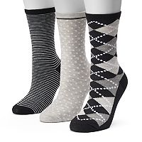 Women's SONOMA Goods for Life™ 3-pk. Argyle Mix Crew Socks