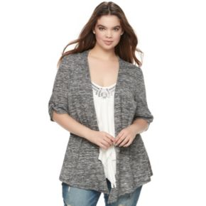 Juniors' Plus Size HeartSoul Ruched Mock-Layer Cardigan