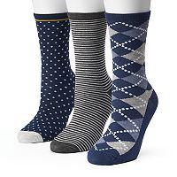 Women's SONOMA Goods for Life™ 3 pkArgyle Mix Crew Socks