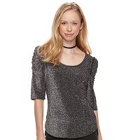 Juniors' Candie's® Ruched-Sleeve Top