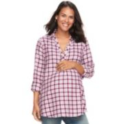 Maternity a:glow Plaid Flannel Tunic