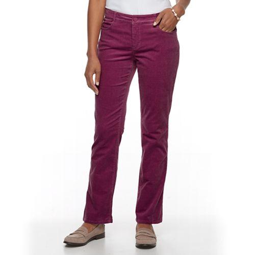 fashionable patterns On Clearance online shop Women's Croft & Barrow® Tummy Slimming Boot-Cut Corduroy Pants