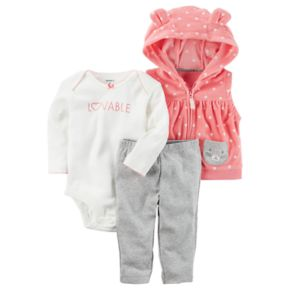 Baby Girl Carter's Graphic Bodysuit, Hooded Vest & Pants Set