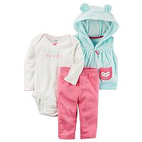 Baby Girl Carter's Graphic Bodysuit, Hooded Vest & Pants Set
