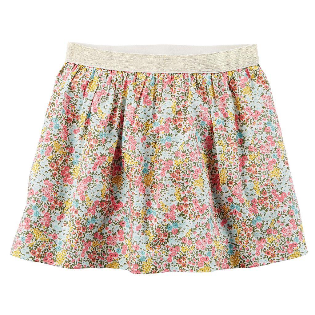 Toddler Girl Carter's Floral Metallic Skirt