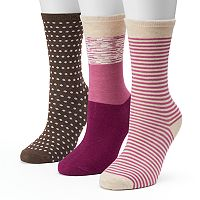 Women's SONOMA Goods for Life™ 3-pk. Pink Colorblock Crew Socks