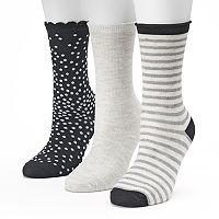 Women's SONOMA Goods for Life™ 3-pk. Black Dot Mix Crew Socks