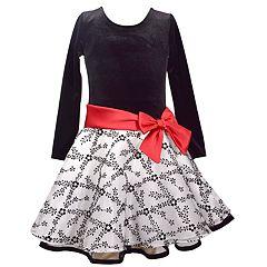 Girls 4-6x Jessica Ann Long Sleeve Velvet Dress
